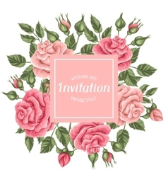 Invitation card with vintage roses Decorative vector image vector image
