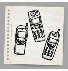 Old mobile phone set vector image vector image