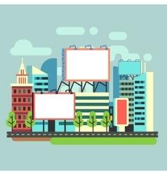 Urban empty advertisement billboards in flat city vector image