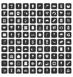 100 ice cream icons set black vector