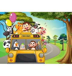 A bus full of zoo animals vector
