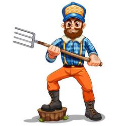 A farmer holding rake vector