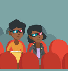 African-american women watching 3d movie vector