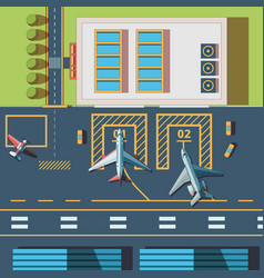 Airport top view terminal building and civil vector