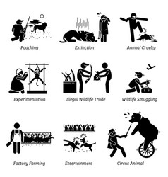Animal rights and issues stick figure pictograph vector