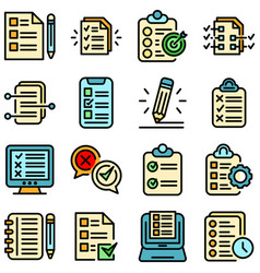 Assignment icons set flat vector