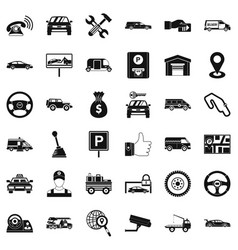 auto rental icons set simple style vector image