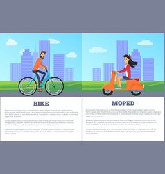 bike versus moped comparing vector image