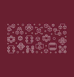 blockchain outline horizontal vector image