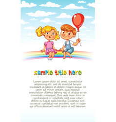 boy and girl are sitting on the rainbow vector image