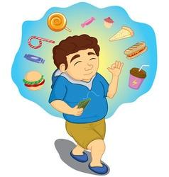 Boys imagine buy food with money vector