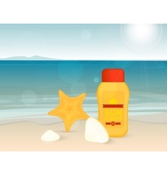 Bright banner with sunscreen lotion on the beach vector image