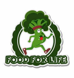 broccoli sprint with food for life text sticker vector image
