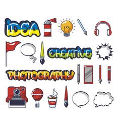 bundle creative photographic ideas set icons vector image