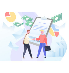 Businessmen meeting sign contract concept of vector