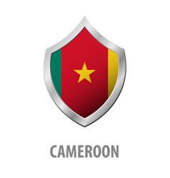 cameroon flag on metal shiny shield vector image