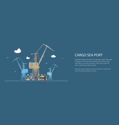 cargo cranes at sea banner vector image