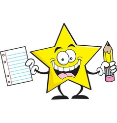 Cartoon star holding a paper and pencil vector image