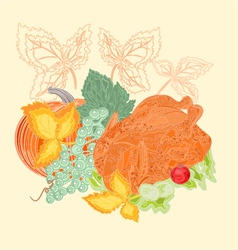 Celebratory food christmas thanksgiving vintage vector