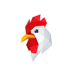 Chicken rooster with polygonal geometric style vector