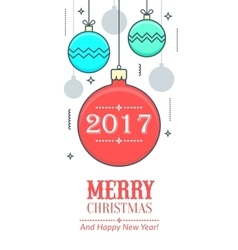 Christmas and New Year s greeting card vector image