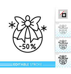 Christmas ball special offer percent off line icon vector