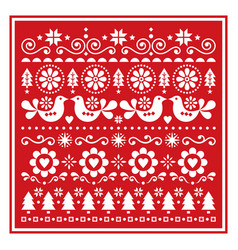 Christmas folk greeting card scandinavian vector