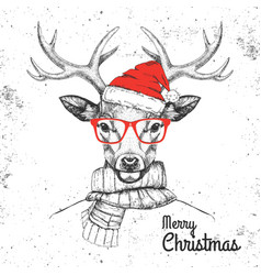 christmas hipster fashion animal deer vector image