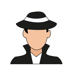 color image cartoon half body hacker with jacket vector image