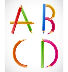 Colorful alphabet of pencils A B C D vector