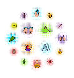 crime comics icons vector image