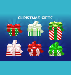 cute christmas different gifts creative packaging vector image