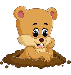 Cute groundhog cartoon vector