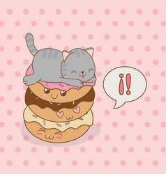 cute little cat with sweet donut kawaii character vector image