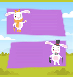 cute white bunnies with blank banners set happy vector image