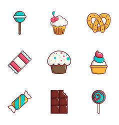Dessert icons set flat style vector