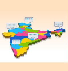 Detailed 3d map of india asia with all states and vector