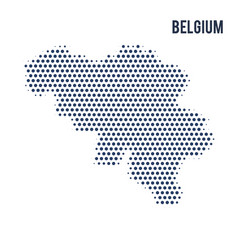 dotted map of belgium isolated on white background vector image
