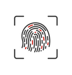 finger print scanning process icon vector image