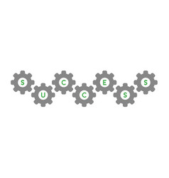 flat design concept of success word inside gears vector image