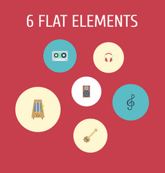 Flat icons tape earphone quaver and other vector