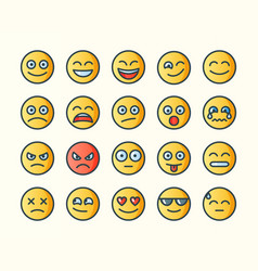flat line smile icons vector image