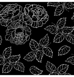 Floral texture with roses and leaves vector