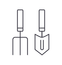 Forks mini trowel line icon sig vector