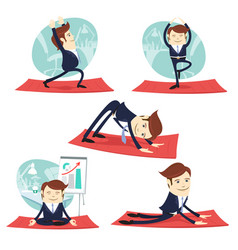 Funny business man wearing suit doing yoga and vector