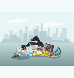 garbage dump with rubbish for recycling different vector image