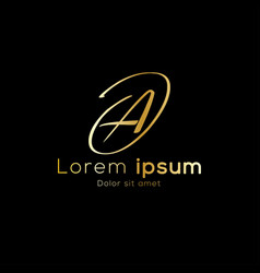 gold color simple initial luxury font type logo vector image