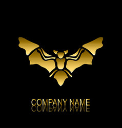 golden bat symbol vector image