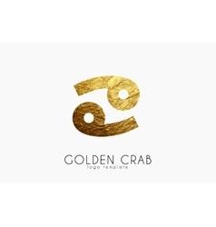 Golden crab Golden zodiac sign Crab zodiac vector image