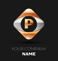 golden letter p logo in the golden-silver square vector image
